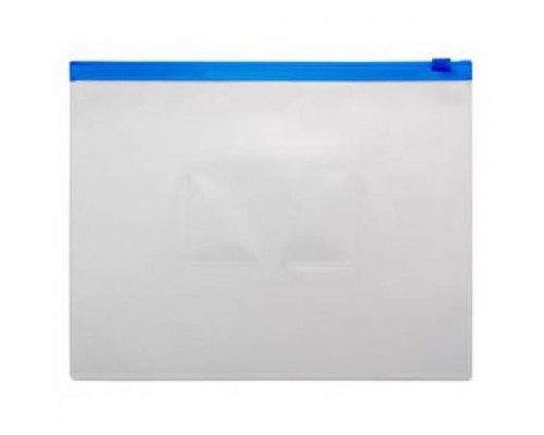 Папка-конверт на молнии А5, пластик, застежка по длинной стороне, синий
