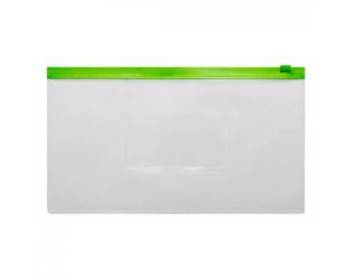 Папка-конверт на молнии А6, пластик, застежка по длинной стороне, зеленый