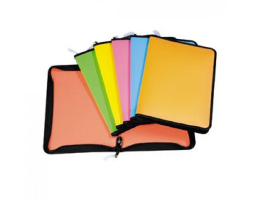 Папка-конверт на молнии А4 ERICH KRAUSE Neon, пластик, ассорти