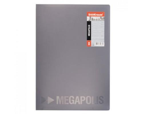 Папка 2 кольца А4 24мм ERICH KRAUSE Megapolis, пластик, 0,8мм, серый