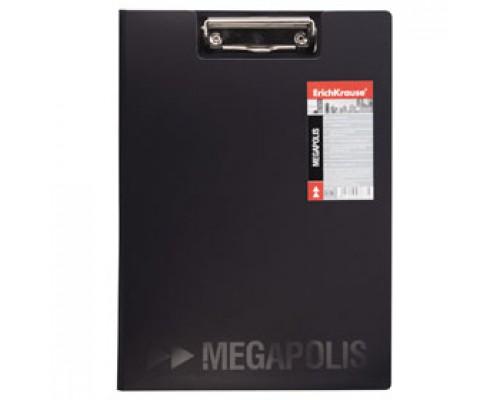 Папка-планшет с прижимом А4 ERICH KRAUSE Megapolis, пластик, черный