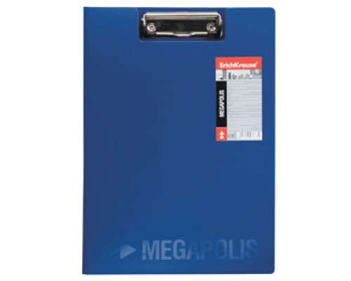Папка-планшет с прижимом А4 ERICH KRAUSE Megapolis, пластик, синий