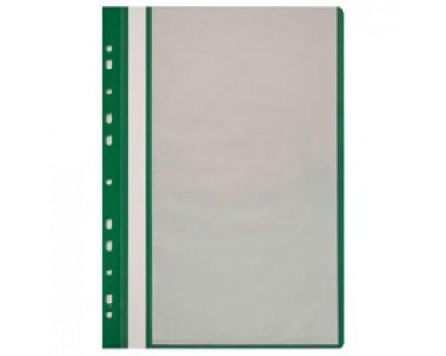 Папка с файлами 10 карманов, с перфорацией, зеленый