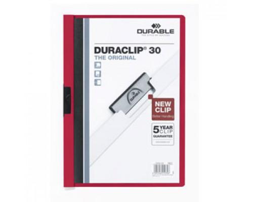Папка с клипом DURABLE Duraclip 30 А4, от 1 до 30л, красный