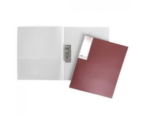 Папка с механическим прижимом METALLIC, 0,7мм, карман, бордо