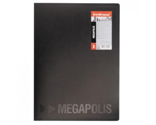 Папка с механическим прижимом ERICH KRAUSE Megapolis, 0,5мм, карман, черный