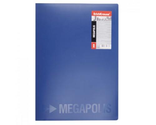 Папка с механическим прижимом ERICH KRAUSE Megapolis, 0,5мм, карман, синий
