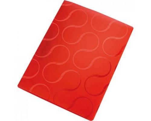 Папка с механическим прижимом OMEGA, 0,45мм, карман, красный