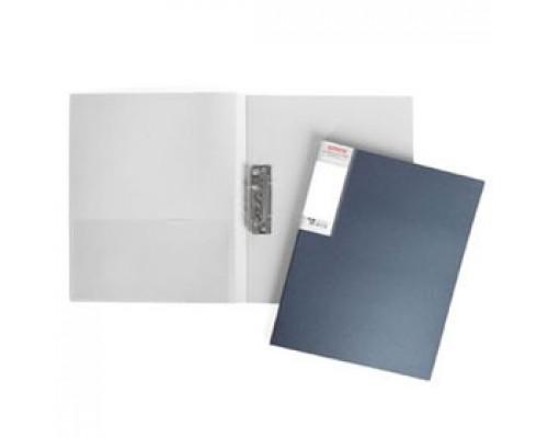 Папка с механическим прижимом METALLIC, 0,7мм, карман, синий