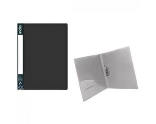 Папка с механическим прижимом METALLIC, 0,7мм, карман, черный