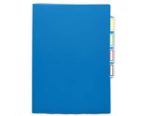 Папка-уголок А4 150мкр жест.пластик, 3 отделения, синий прозр.