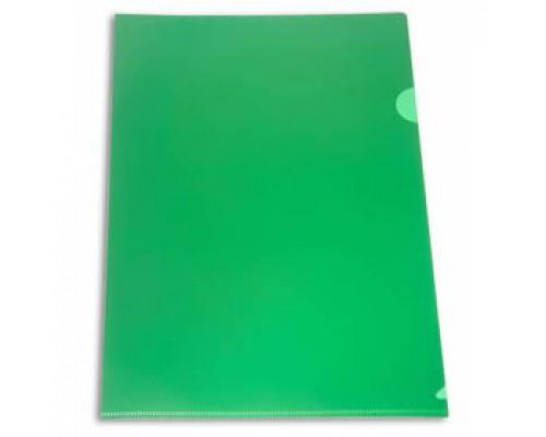 Папка-уголок А4 180мкр жест.пластик зеленый непрозр.
