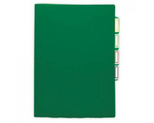 Папка-уголок А4 150мкр жест.пластик, 3 отделения, зеленый прозр.