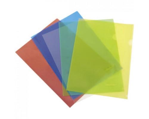Папка-уголок А4 180мкр жест.пластик бесцв.прозр.