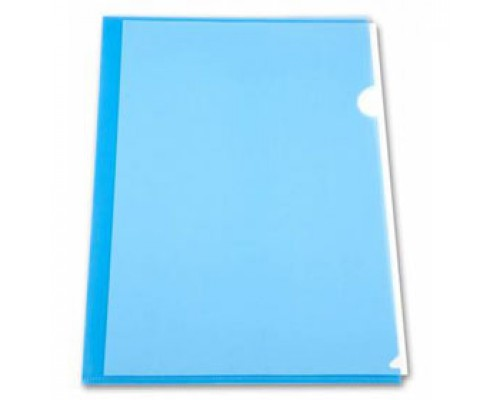 Папка-уголок А4 150мкр жест.пластик синий прозр.