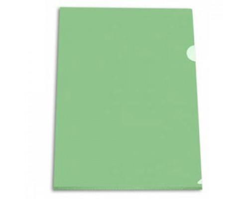 Папка-уголок А4 150мкр жест.пластик зеленый прозр.