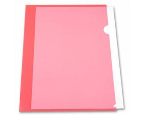 Папка-уголок А4 150мкр жест.пластик красный прозр.