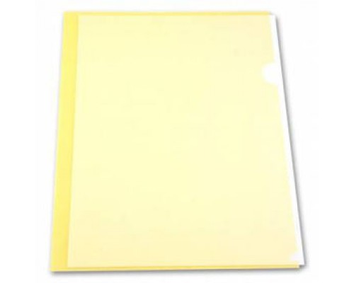 Папка-уголок А4 150мкр жест.пластик желтый прозр.