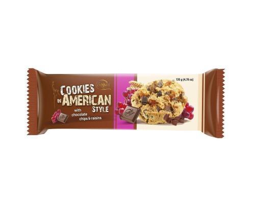 Печенье American Cookies шоколад + изюм 135 г