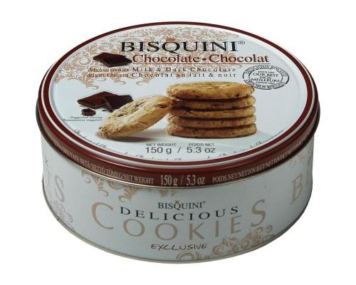 Печенье Bisquini Датское с кусочками шоколада 150 г