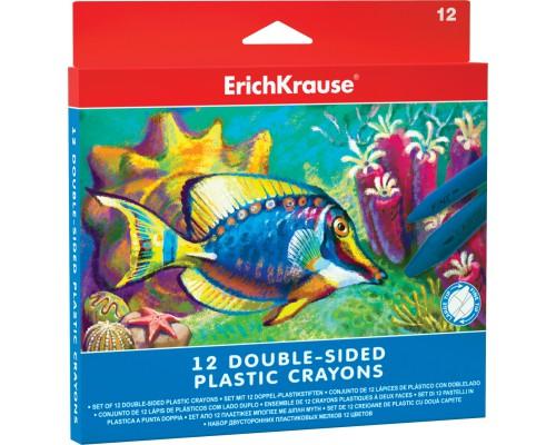 Двухсторонние пластиковые мелки ErichKrause 12 цветов, разноцветн.
