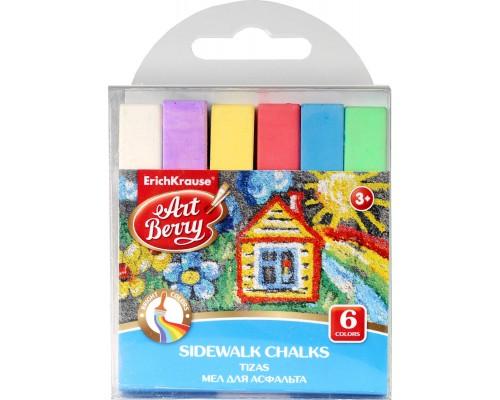 Мел для асфальта ArtBerry 6 цветов, разноцветн.