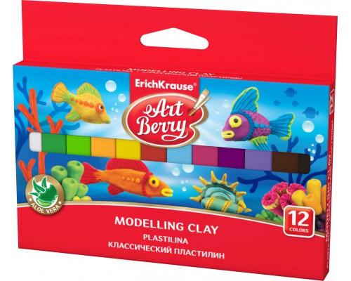 Классический пластилин ArtBerry с Алоэ Вера, 12 цветов/180г, картон с европодвесом