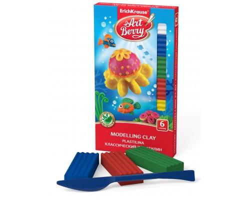 Классический пластилин ArtBerry с Алоэ Вера, 6 цветов/108г, со стеком