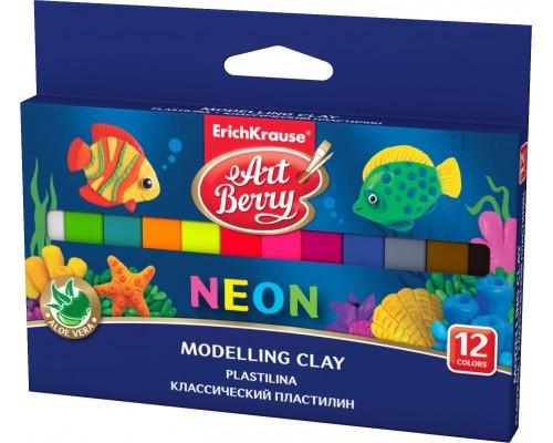 Классический пластилин ArtBerry с Алоэ Вера, Неон 12 цветов/180г, картон с европодвесом