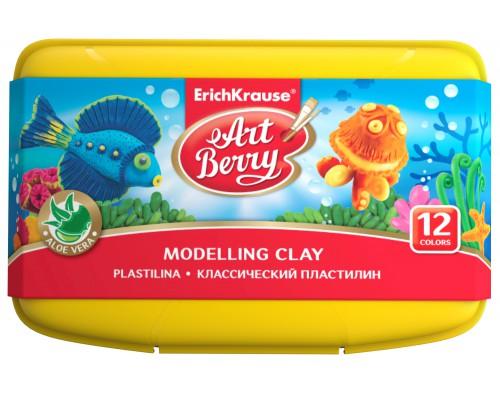 Классический пластилин ArtBerry с Алоэ Вера, 12 цветов/216г, со стеком, в пластиковом боксе