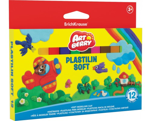 Пластилин мягкий Artberry 12 цветов/180г, картон с европодвесом