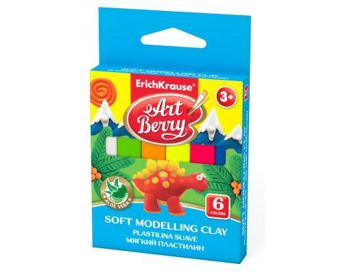 Мягкий пластилин ArtBerry с Алоэ Вера, 6 цветов/90г, картон с европодвесом