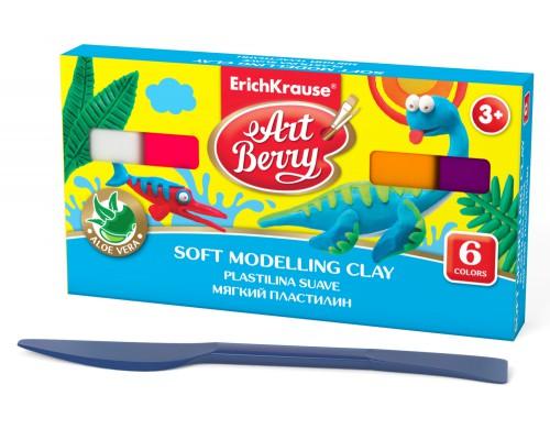Мягкий пластилин ArtBerry с Алоэ Вера, 6 цветов/120г, коробка, со стеком