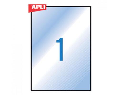 Этикетки самоклеящиеся 210х297мм, APLI, 1шт., 20л., всепогодные, прозрачный