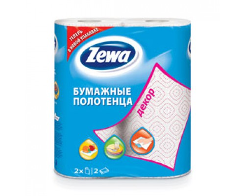 Полотенца бумажные ZEWA Decor 2х-сл., 2 рул., белый