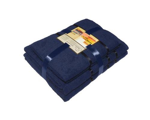 Набор махровых полотенец хлопок 450 г/кв.м синий (2 штуки 50х85 см, 2 штуки 70х135 см)
