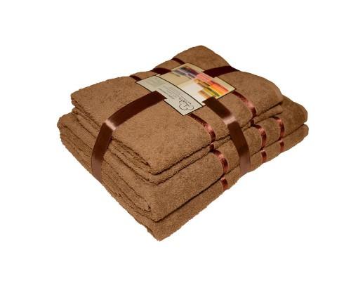 Набор махровых полотенец хлопок 450 г/кв.м коричневый (2 штуки 50х85 см, 2 штуки 70х135 см)