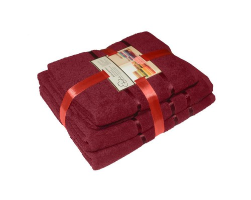 Набор махровых полотенец хлопок 450 г/кв.м винно-красный (2 штуки 50х85 см, 2 штуки 70х135 см)