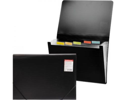 Папка картотека на резин. ERICH KRAUSE Standard, 12 отделений, пластик, черный