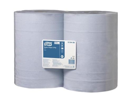 Протирочная бумага в рулонах Tork W1 2-слойная (голубая, 2 рулона по 340 метров)