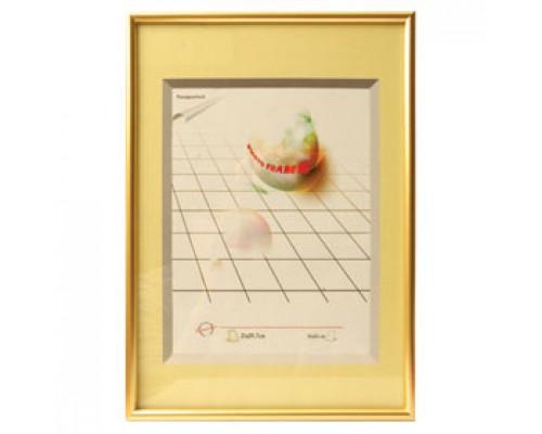Рамка для документов настенная, 21х29.7см, стекло/пластиковый профиль под золото