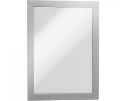 Рамка A5 DURABLE Magaframe 4871-23, самоклеящаяся, магнитная, серебро, 2шт