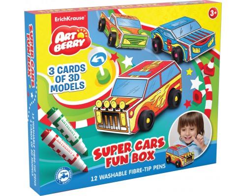 Набор для творчества Super Cars Fun box Artberry (12 флом+ 3 модели машинок для сборки), ассорти