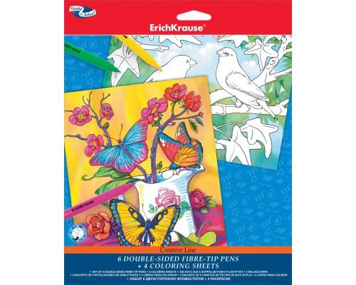 Набор флом 6цв+4 раскраски/Creative line/Erich Krause for girls, ассорти