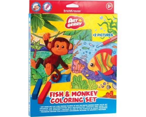 Пластилин мягкий 6цв+восковые мелки 8цв+2 раскраски Fish & Monkey Coloring Set Artberry, разноцветн.