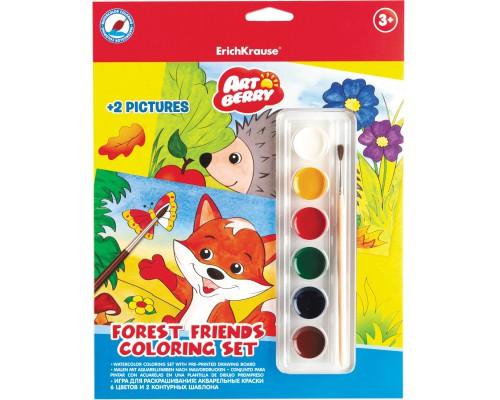 Игра для раскрашивания Artberry/Forest Friends Coloring Set (краски акварельные 6цв+2 контурных шаблона), разноцветн.