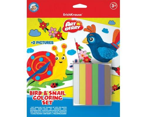 Пластилин мягкий 6цв+раскраски 2шт Bird & Snail Coloring Set Artberry, разноцветн.
