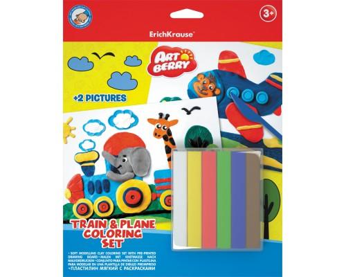 Пластилин мягкий 6цв+раскраски 2шт Train & Plane Coloring Set Artberry, разноцветн.