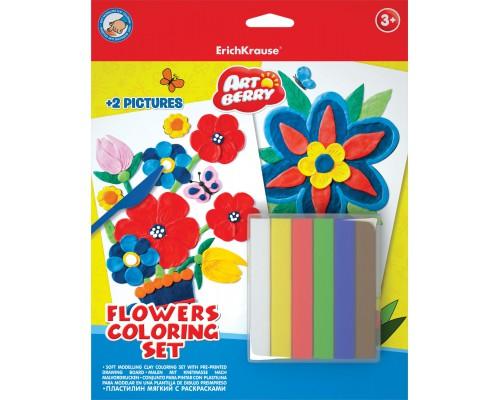 Пластилин мягкий 6цв+раскраски 2шт Flowers Coloring Set Artberry, разноцветн.