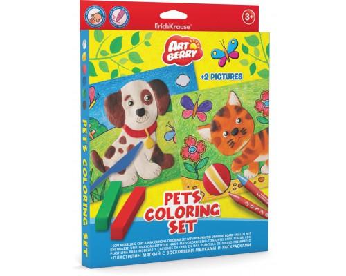 Пластилин мягкий 6цв+восковые мелки 8цв+раскраски 2шт Pets Coloring Set Artberry, разноцветн.